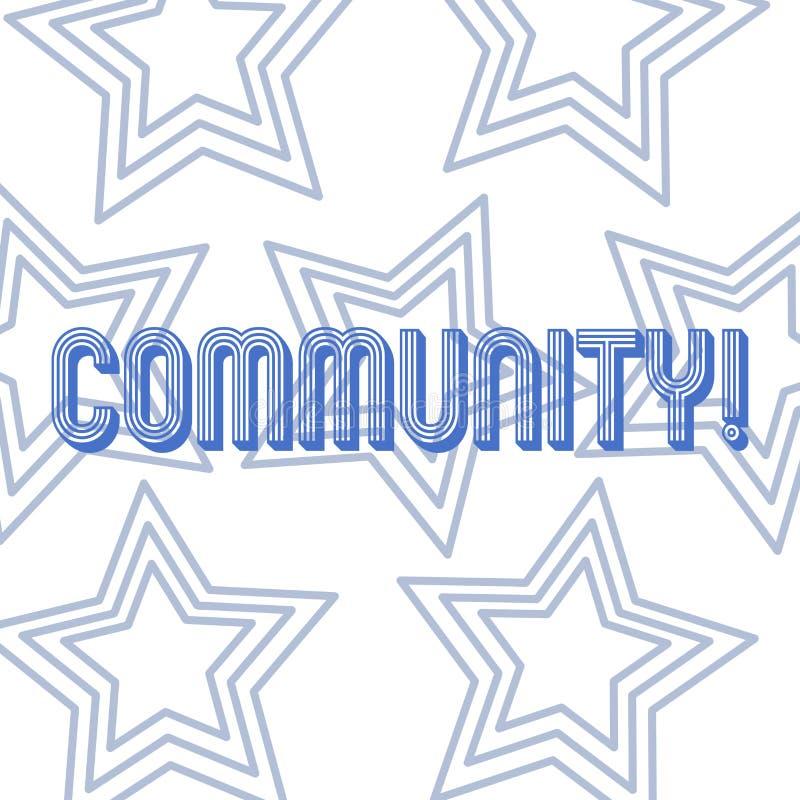 Знак текста показывая общину Схематическое повторение группы единства союзничества присоединения государства ассоциации района фо бесплатная иллюстрация