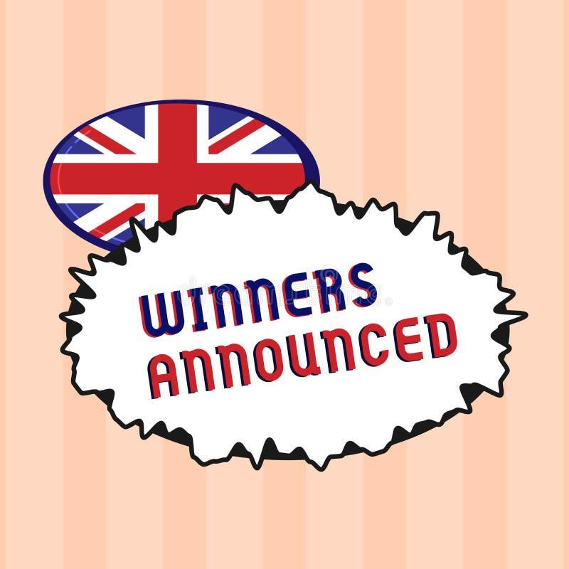 Знак текста показывая объявленные победителей Схематическое фото объявляя кто выиграло состязание или любую конкуренцию иллюстрация вектора
