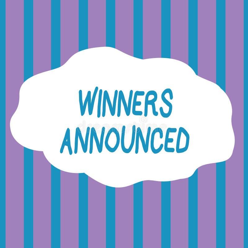 Знак текста показывая объявленные победителей Схематическое фото объявляя кто выиграло состязание или любую конкуренцию безшовные иллюстрация вектора