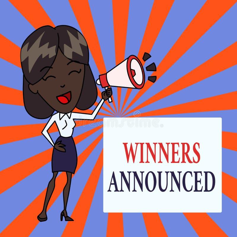 Знак текста показывая объявленные победителей Схематическое фото объявляя кто выиграло состязание или любую молодую женщину конку иллюстрация вектора