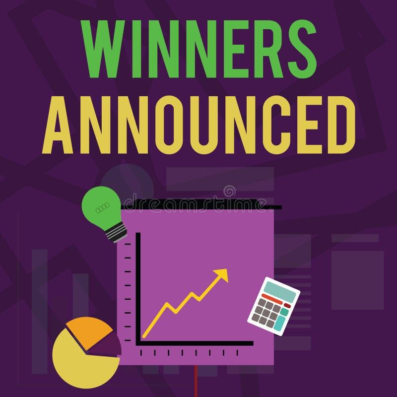 Знак текста показывая объявленные победителей Схематическое фото объявляя кто выиграло состязание или любые значки вклада конкуре иллюстрация вектора