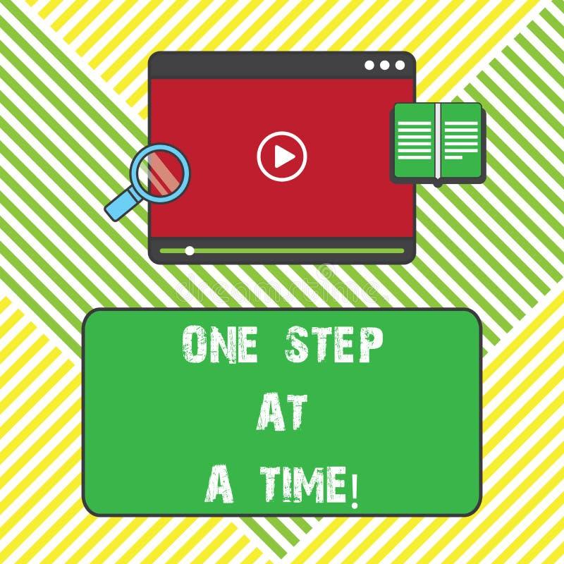 Знак текста показывая один шаг одновременно Действия схематического фото маленькие пойти медленно но прочно достигнуть видео план иллюстрация вектора