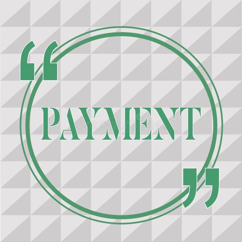Знак текста показывая оплату Схематический процесс фото оплачивать кто-то или что-то дают приобретение законцовки денег иллюстрация вектора