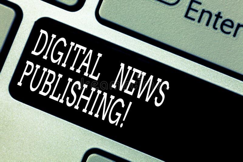 Знак текста показывая опубликовывать новостей цифров Отчет о передачи схематического фото электронный настоящей клавиатуры информ стоковые изображения