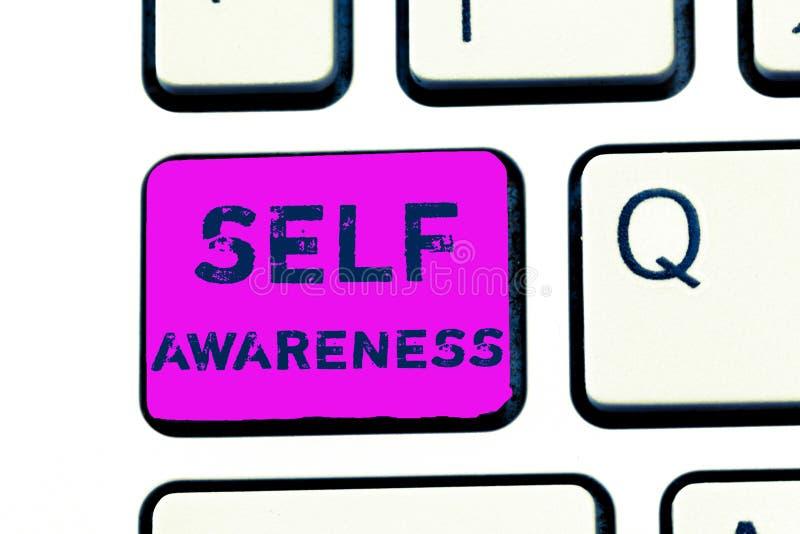 Знак текста показывая осведомленность собственной личности Схематическое сознавание фото персоны к ситуации или событию стоковые изображения rf