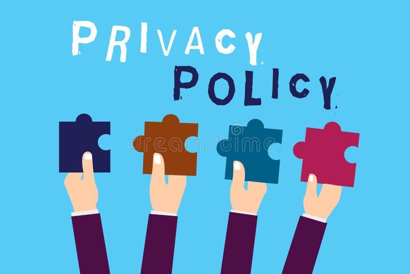 Знак текста показывая политику уединения Схематический документ фото который объясняет как организация регулирует клиентов бесплатная иллюстрация