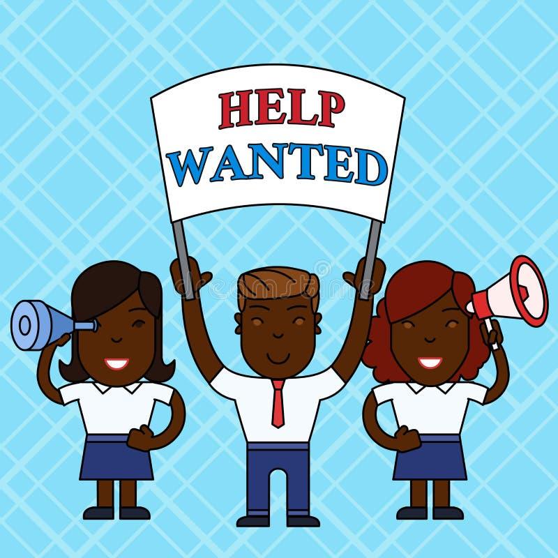 Знак текста показывая помощь хотел Схематическое фото объявление в бумаге работодатель устанавливает для обнаружения новых людей  бесплатная иллюстрация