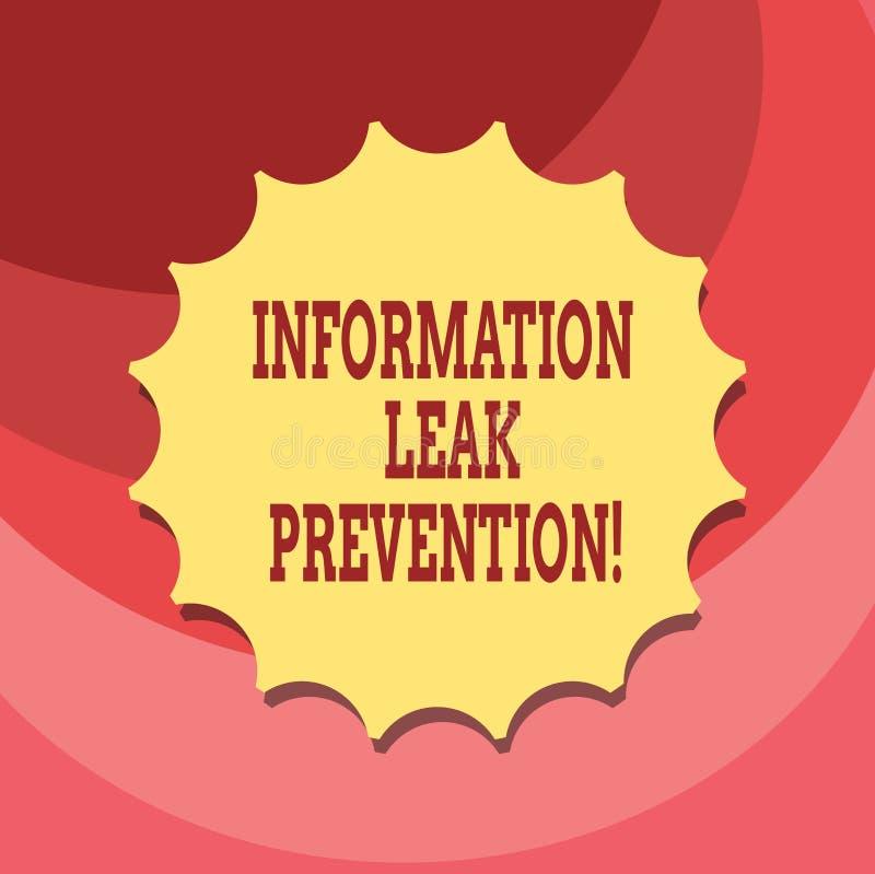 Знак текста показывая предохранение утечки информации Важная информация схематического фото блокируя к уплотнению оттока пустому иллюстрация вектора