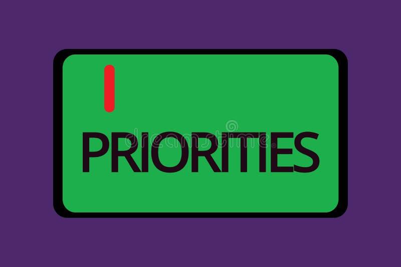 Знак текста показывая приоритеты Схематические вещи фото которые сосчитаны как важный срочный чем другие иллюстрация вектора