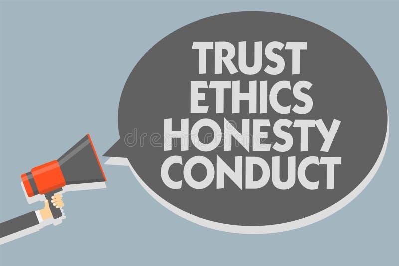 Знак текста показывая проведение честности этик доверия Схематическое фото означает что положительные и добродетельные атрибуты у бесплатная иллюстрация