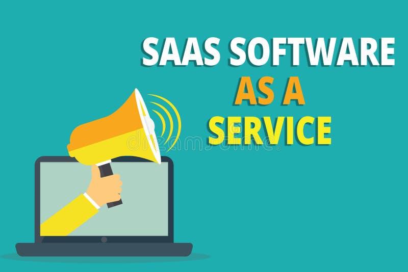 Знак текста показывая программное обеспечение Saas как обслуживание Схематическое фото польза облака основало App над интернетом иллюстрация вектора