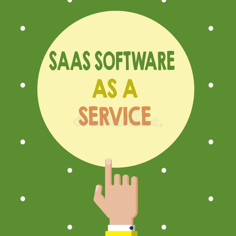 Знак текста показывая программное обеспечение Saas как обслуживание Схематическое фото польза облака основало App над интернетом иллюстрация штока