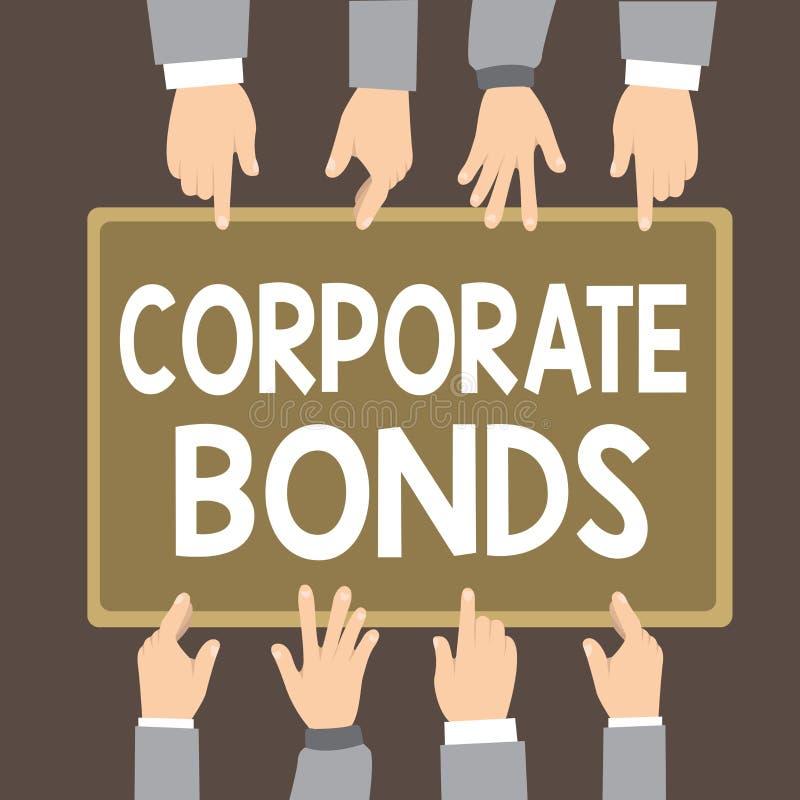 Знак текста показывая промышленные облигации Схематическая корпорация фото для того чтобы поднять финансирование для разнообразия иллюстрация вектора
