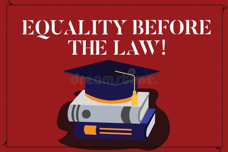 Знак текста показывая равенство перед законом Права схематического предохранения от баланса правосудия фото равные для каждого цв иллюстрация штока