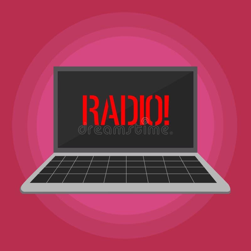 Знак текста показывая радио Схематическая радиотехническая аппаратура фото используемая для слушать программы передач показывает  иллюстрация штока