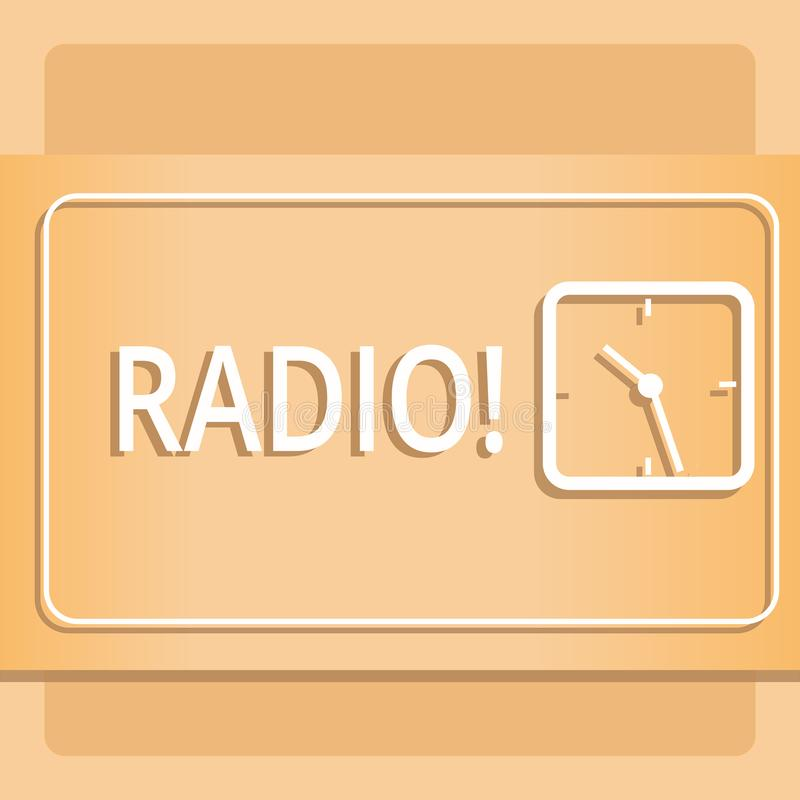 Знак текста показывая радио Схематическая радиотехническая аппаратура фото используемая для слушать программы передач показывает  иллюстрация вектора