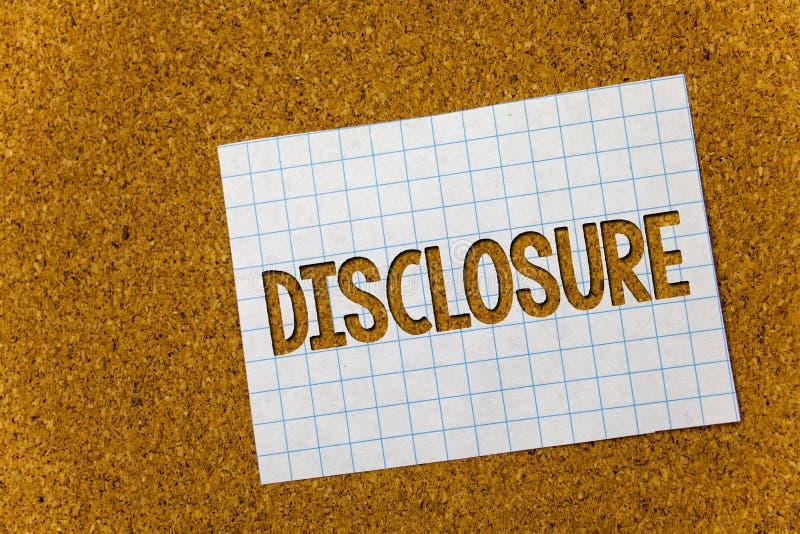 Знак текста показывая разоблачение Схематическое фото действие делать новую или секретную предпосылку n пробочки конфиденциальной стоковое изображение