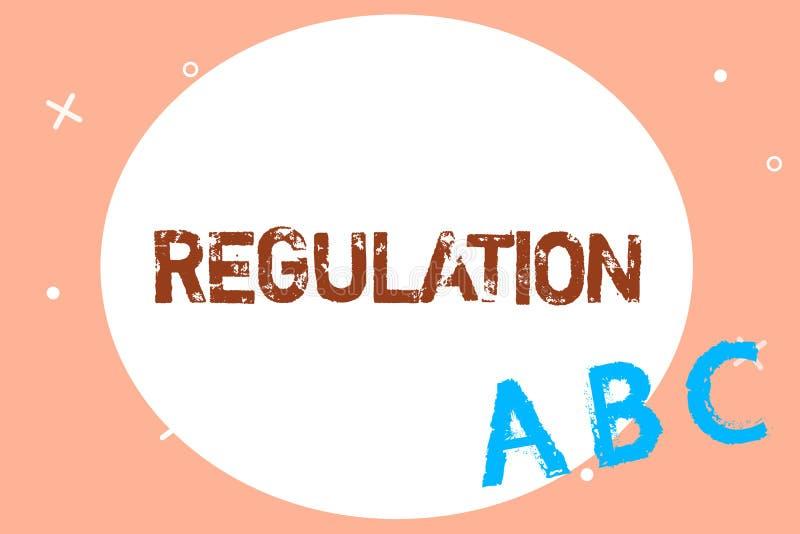 Знак текста показывая регулировку Схематические закон или директива правила фото сделанный и поддержанный властью иллюстрация штока