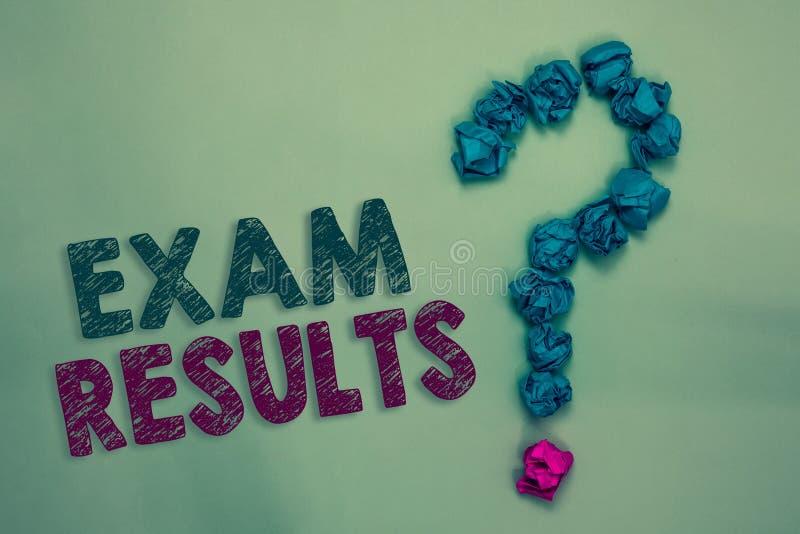 Знак текста показывая результаты экзамена Схематическое фото исход официального испытания которое показывает знание или способнос стоковое фото
