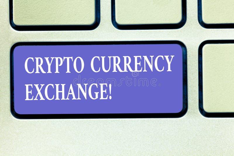 Знак текста показывая секретный обмен валюты Схематическая торговая операция фото цифровых валют для другой клавиши на клавиатуре иллюстрация вектора