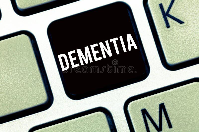 Знак текста показывая слабоумие Схематическое ухудшение фото в потере памяти познавательной действуя болезни мозга стоковое изображение rf