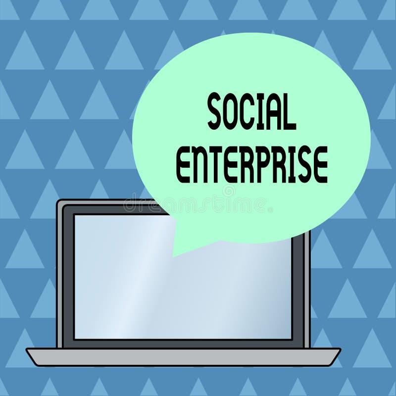 Знак текста показывая социальное предприятие Схематическое дело фото которое зарабатывает деньги в социально ответственном круге  иллюстрация штока