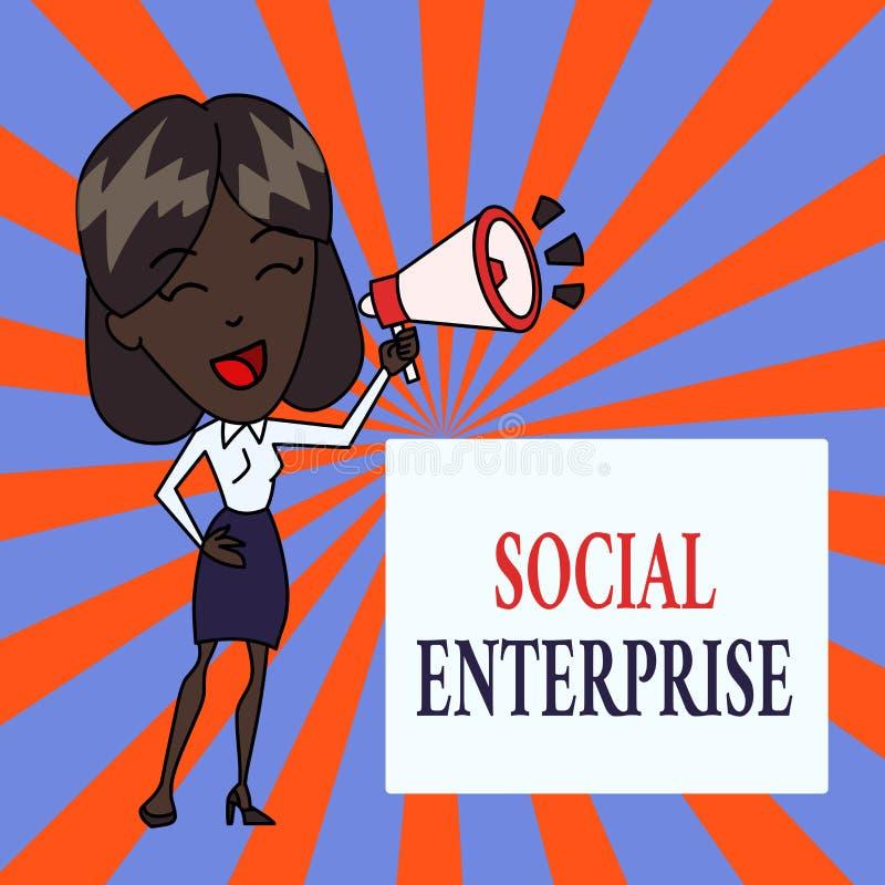 Знак текста показывая социальное предприятие Схематическое дело фото которое зарабатывает деньги в социально ответственном детены иллюстрация вектора