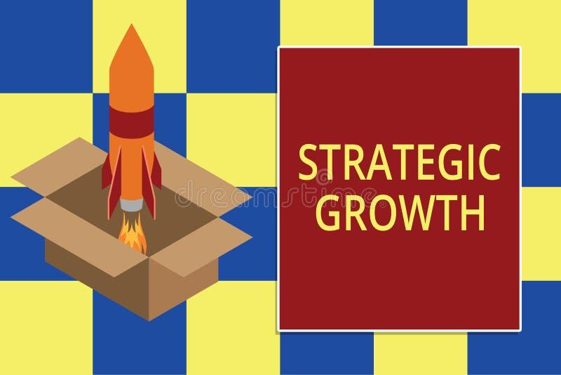 Знак текста показывая стратегический рост Схематическое фото создать план или расписание для увеличения запасов или огня улучшени иллюстрация штока