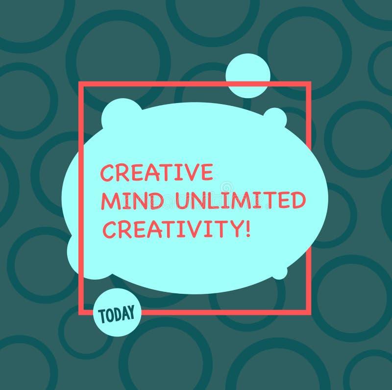 Знак текста показывая творческому разуму неограниченные творческие способности Схематическое фото полное мозга оригинальных идей  иллюстрация штока