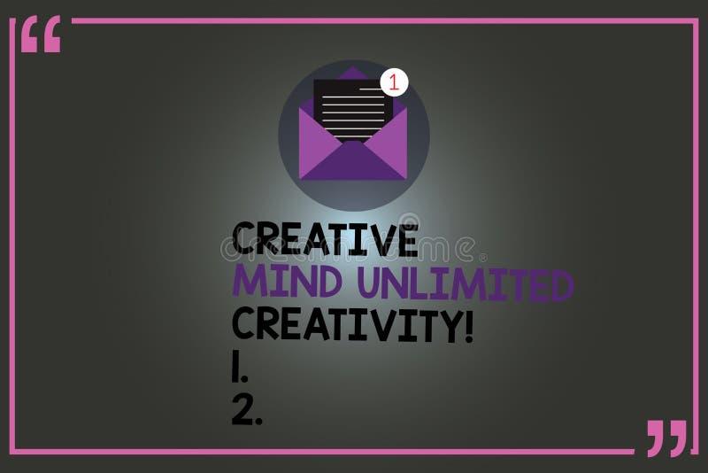 Знак текста показывая творческому разуму неограниченные творческие способности Схематическое фото полное мозга оригинальных идей  бесплатная иллюстрация