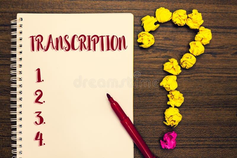 Знак текста показывая транскрипцию Процесс схематического фото написанный или напечатанный транскрибировать формулирует мам обраб стоковое фото rf
