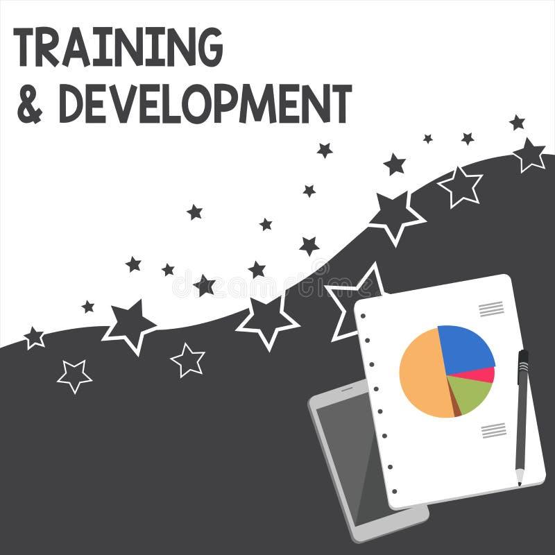 Знак текста показывая тренировку и развитие Схематическое фото учит специфическое знание для того чтобы улучшить план perforanaly бесплатная иллюстрация