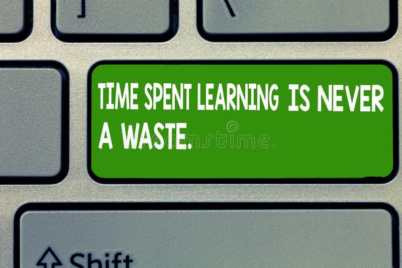 Знак текста показывая учить потраченный временем никогда отхода Схематическое образование фото имеет непочатый край держать прему стоковые изображения