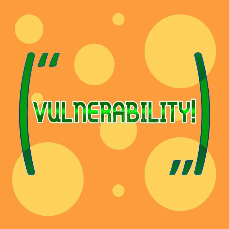 Знак текста показывая уязвимость Схематические системы подверженности данным по фото прослушивают атакующего эксплуатирования раз иллюстрация вектора