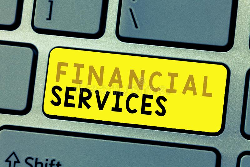 Знак текста показывая финансовые обслуживания Схематические деньги фото и брокерства запасов lending снятия в аренду вклада стоковые фото