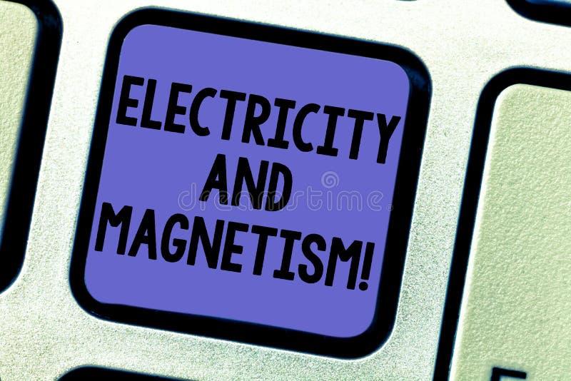 Знак текста показывая электричество и магнетизм Схематическое фото овеществляет одиночную клавишу на клавиатуре электромагнитной  стоковые фото