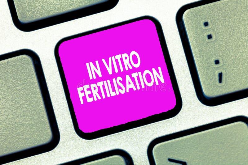 Знак текста показывая in vitro землеудобрение Схематическое фото яичко удобрено спермой в пробирке стоковая фотография