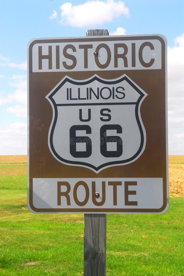знак трассы 66 Illinois Стоковые Фотографии RF