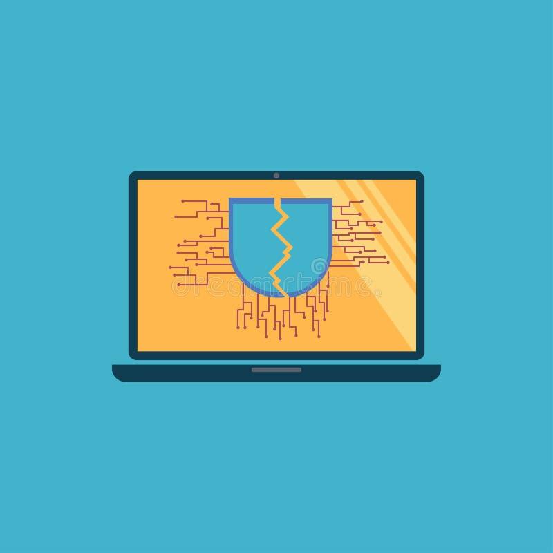 Знак треснутого экрана с уязвимым на мониторе тетради иллюстрация штока