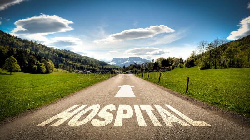 Знак улицы в больницу стоковое изображение rf