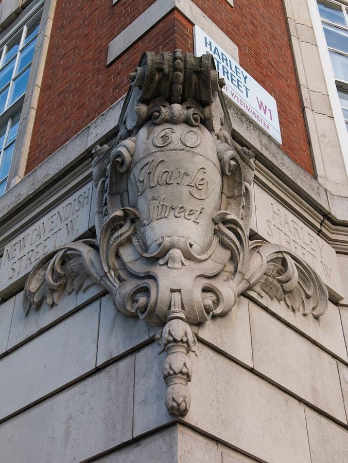 Знак улицы для улицы Harley и новой улицы Cavendish, Лондона, Великобритании стоковое изображение rf