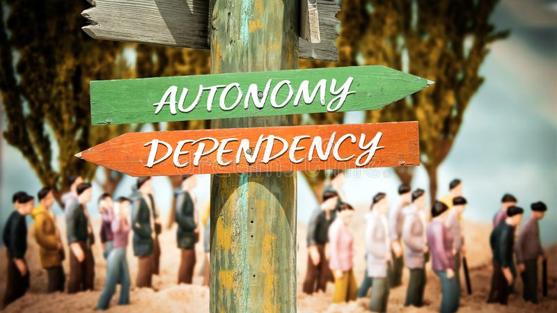 Знак улицы к автономии против зависимости стоковая фотография
