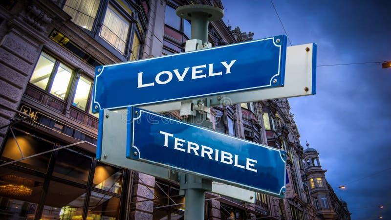 Знак улицы к прекрасному против ужасного стоковые изображения rf