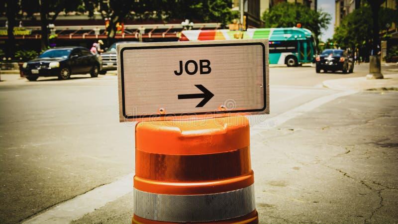 Знак улицы к работе стоковые изображения rf