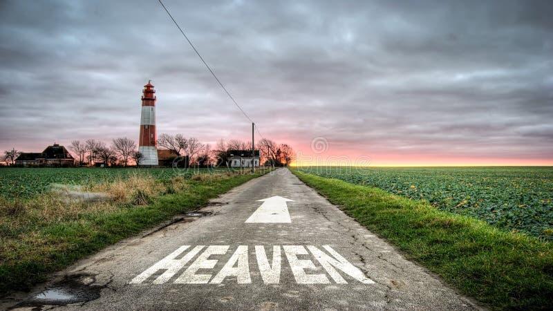 Знак улицы к раю стоковое фото rf