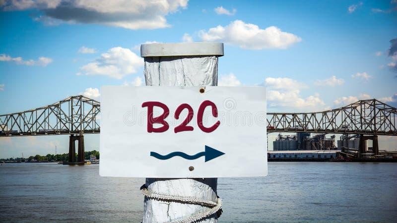 Знак улицы к B2C стоковое изображение rf