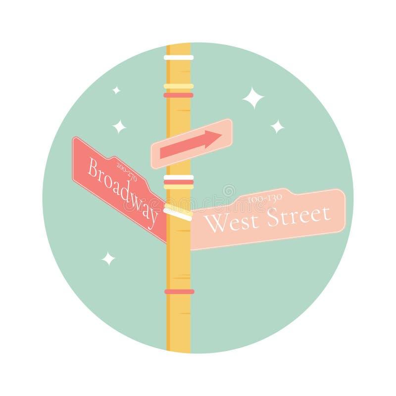 Знак улицы с указателем к Бродвей, Нью-Йорку иллюстрация вектора