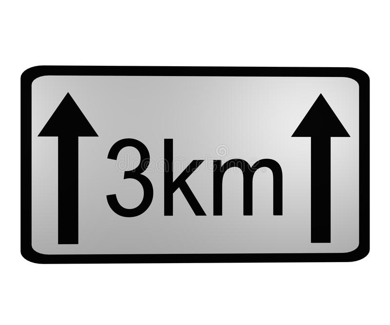 Знак уличного движения: длина места опасности иллюстрация вектора