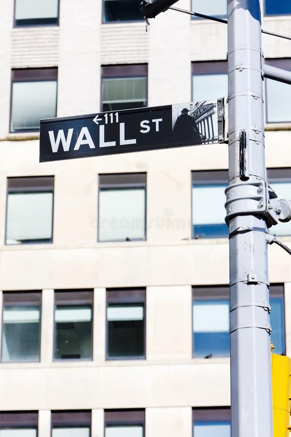 Знак Уолл-Стрита, Нью-Йорк, США стоковая фотография rf