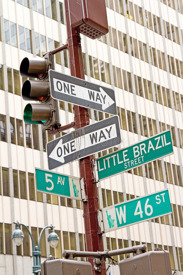 Знак уличного движения Нью-Йорка стоковое изображение rf